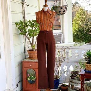 Vintage 70's Silueta Sleeveless Striped Button Up